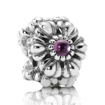 Pandora Amethyst Floral February Purple Birthstone Bead