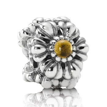 Pandora Citrine Floral November Yellow Birthstone Bead