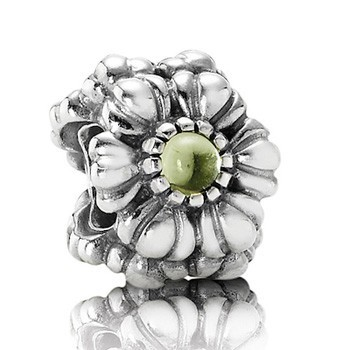 Pandora Peridot Floral August Green Birthstone Bead