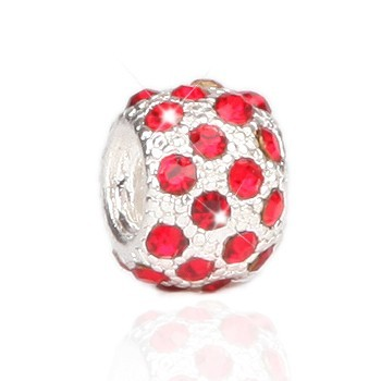 Pandora Sterling Silver Charms Silver And Red Bead With Stone