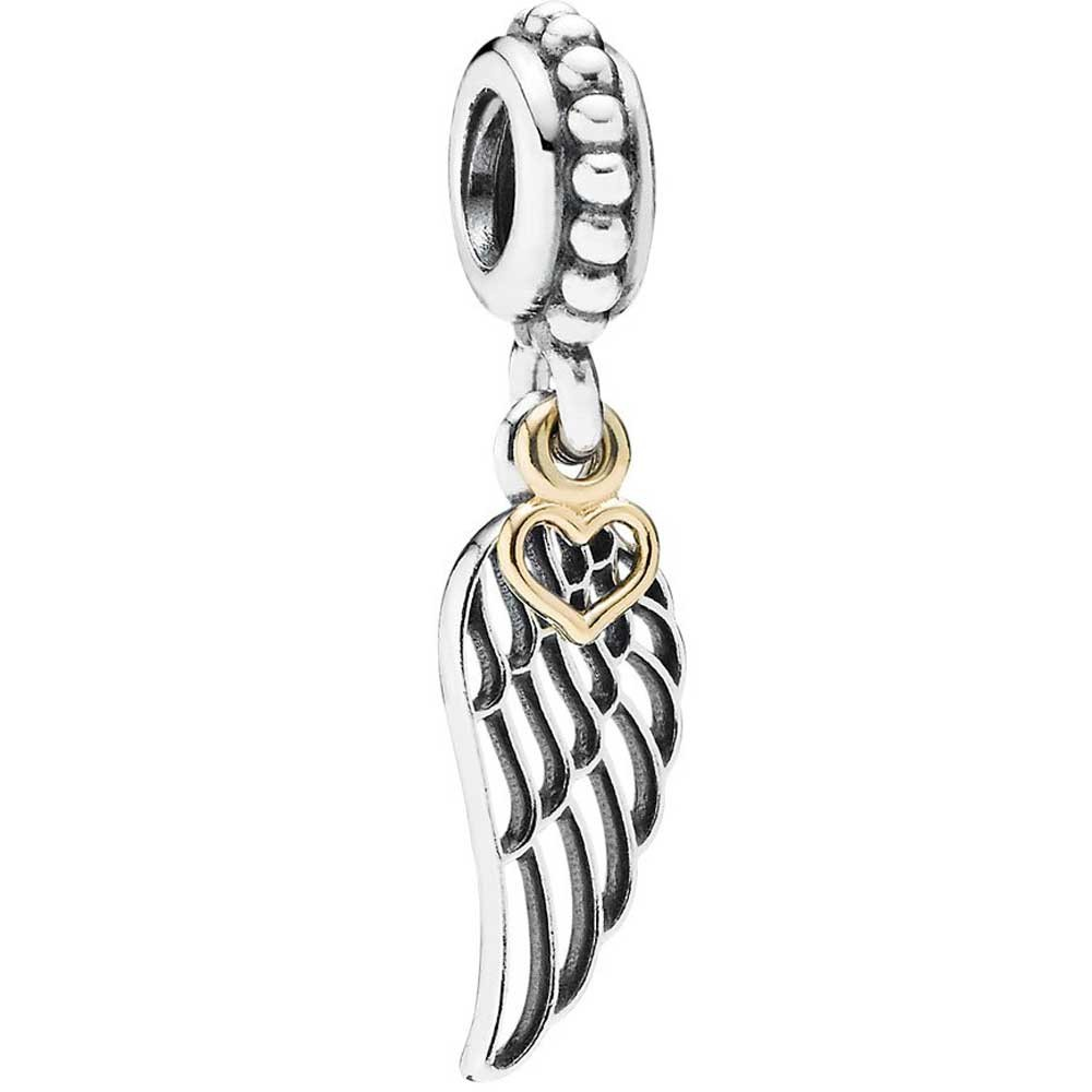 Pandora Silver 14ct Gold Angel Wing Dropper Charm pandora53-630