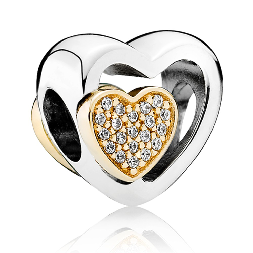 Pandora Silver 14ct Gold Two Hearts In One Charm pandora53-609