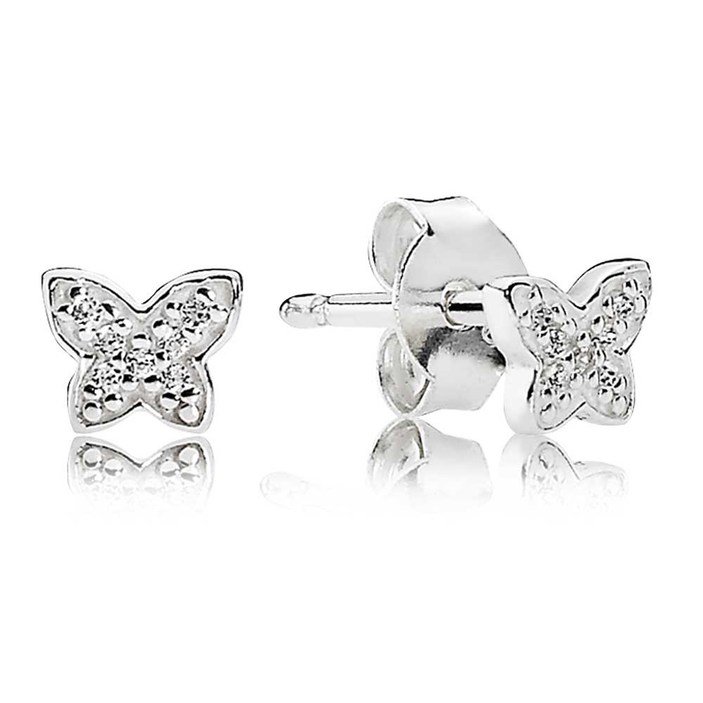 Pandora Silver Cubic Zirconia Butterfly Stud Earrings pandora53-501