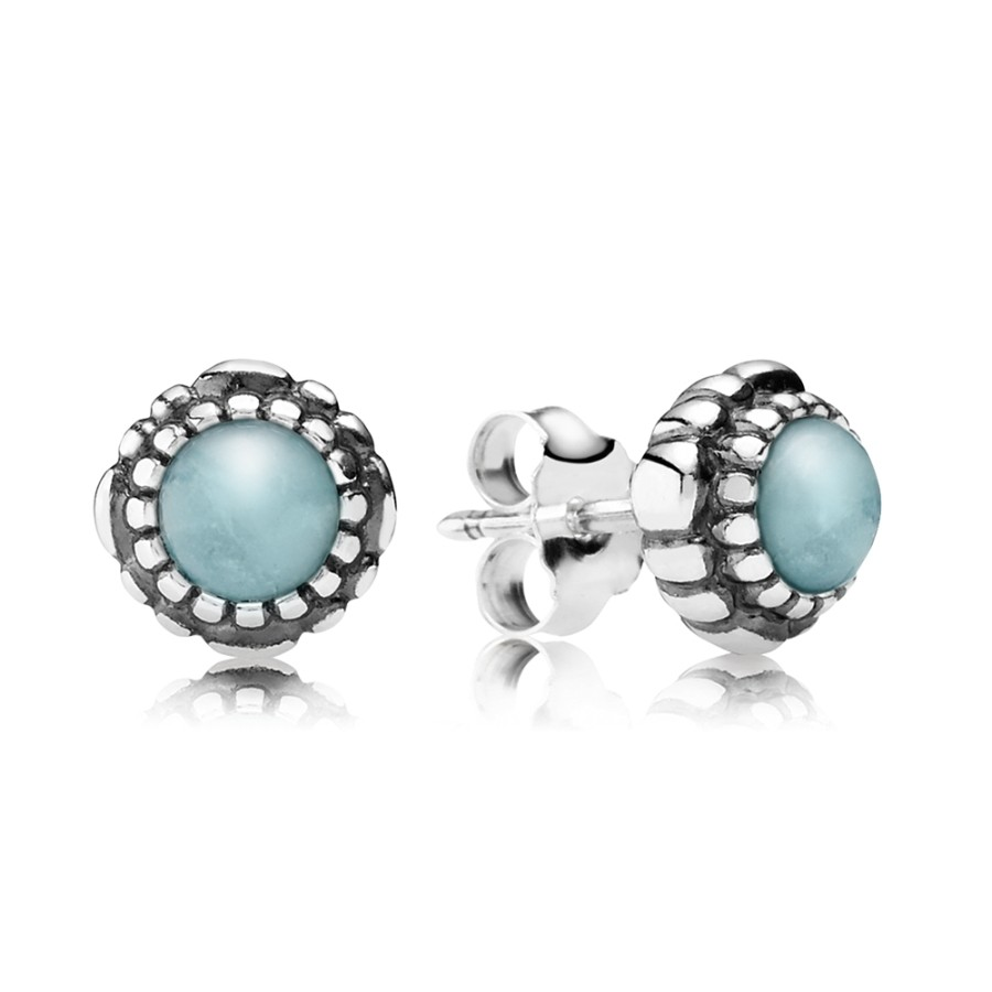Pandora Silver March Birthstone Aquamarine Stud Earrings pandora53-283