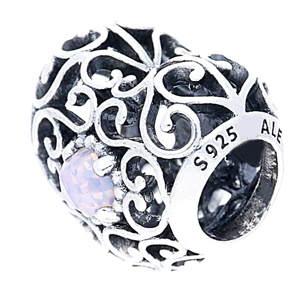 Pandora Silver October Birthstone Signature Heart Charm pandora53-259