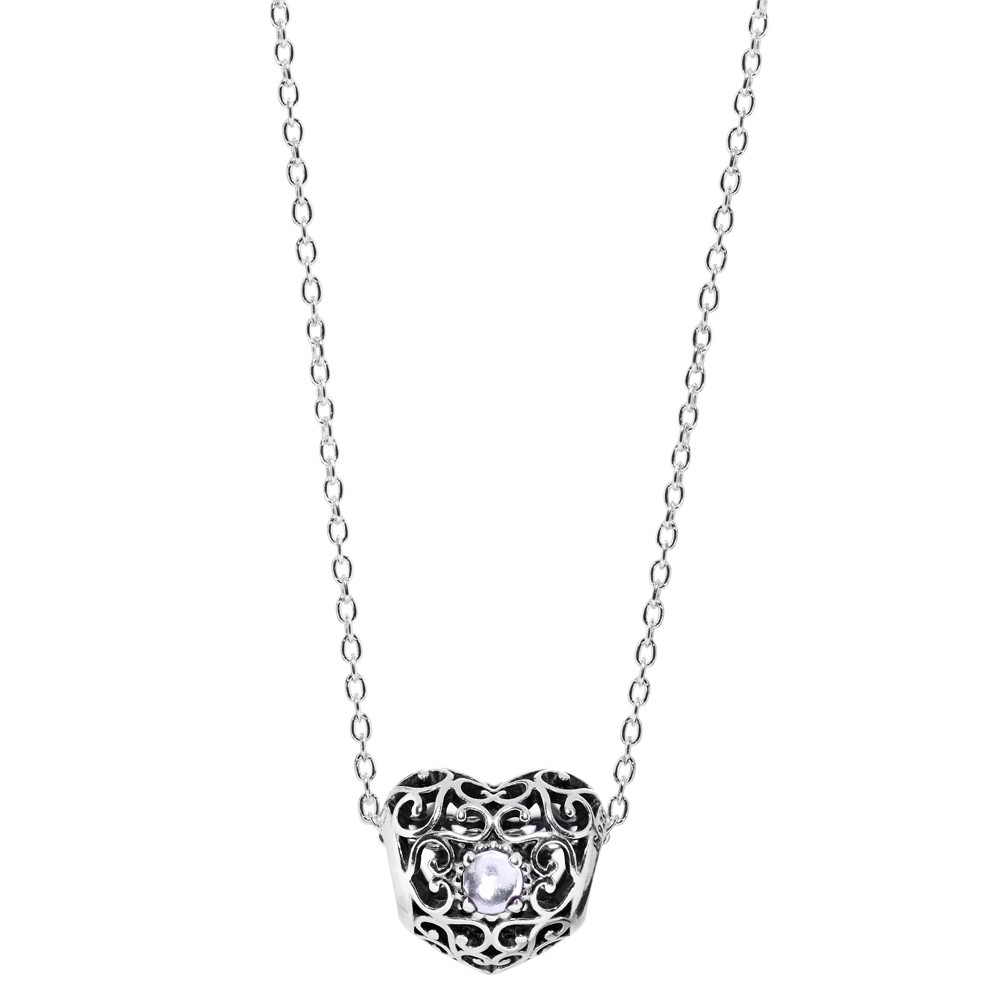 Pandora Silver Rock Crystal Heart April Necklace pandora53-195